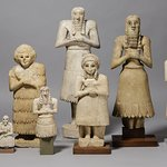 Group of worshipper statues from Iraq, ca. 2700-2600 BC, excavated by the Oriental Institute.