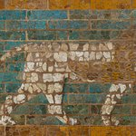 Glazed brick lion from the processional way of Babylon, Iraq, 604-562BC.