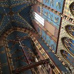 Beautiful highly decorated ceiling .