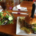 Delicious burger and salad for lunch with a Polygamy Porter. Yummy food memory from Missoula wit