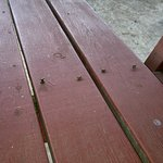 Nails sticking out of picnic bench seat would be a nasty surprise for anyone sitting down