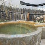 Outside, private soaking tub