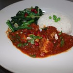 Local organic Carolina Bison curry with local mustard greens..