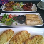 Garlic breads, duck spring rolls, chicken wings