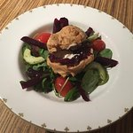 Goats cheese salad with gluten free savoury choux pastry bun