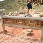 "Sign for the ""scenic walk"" to the highest point above the Cape of Good Hope"