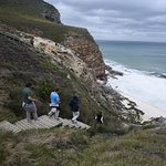The steep staircase down to the secluded beach, at the mid-point on the path between the Capes