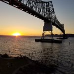 Sunset view of the Astoria Bridge and Columbia River