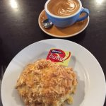 Flat White & Cheese Scone (they give you 2 butter packs as well)