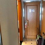 Hallway, bathroom/shower on left