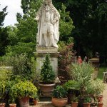 The statue of Dr Hans Sloane is prominently placed in the garden