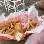 Inside of fish (mahi-mahi) from fish and chips