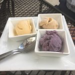 Wonderful meal made by chef Darren gave us a trio of homemade ice creams blackberry, cinnamon an