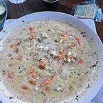 Oyster Stew, tasty, plentiful oysters, $12.00