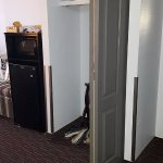 Closet, fridge and microwave