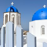 Another view of a church and belltower in Oia, Santorini