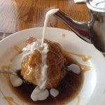 apple dumpling with cream