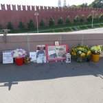 Memorial on the bridge where the Russian dissedent was shot and murdered last year.