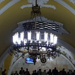 Chandelier in subway station in Moscow
