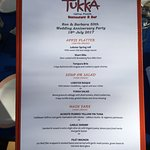 Wonderful menu - we got to pick out the entire set of food choices!