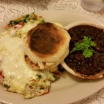 Pesto Scramble at Lou's, with side of black beans and English muffin