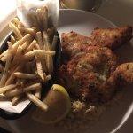 free-range parmesan crumbed chicken schnitzel with creamed corn