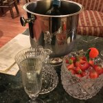Being spoilt in the Bar .... Murano Champagne Flutes and Strawberries with the Champagne