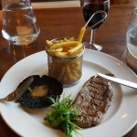 A very nice steak with a good Shiraz.