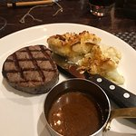 Steak with Diane sauce & cauliflower cheese