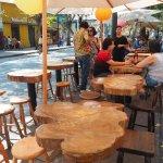 One of many street cafés near Hostal Providencia.