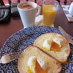 POACHED EGGS COFFEE & ORANGE JUICE