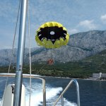 Parasailing out front of hotel