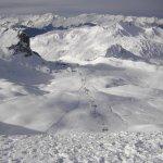 View of the pistes from Roche de Mio, La Plagne