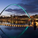 this is the view along the centre of Newcastle quayside , you can see 3 of the tyne bridges.