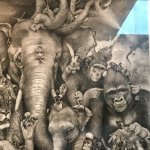 Adonna Khare, 'Elephant Whirlpool'. Sorry about the glare---bad pic of a great work of art.
