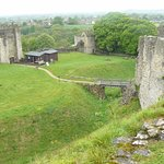 Inner Ward entrance (Coleman Tower), Gatehouse & Mill Tower from top of Motte