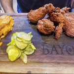 Fried chicken with pickles and mashed sweet potatoes
