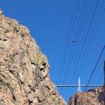 traveling under the Royal Gorge Bridge 950 ft above