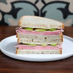 FRENCH HAM & AGED CHEDDAR: fresh sliced apple, walnut butter, on grilled country bread