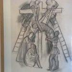 Uno degli schizzi preparatori alla via crucis di Matisse