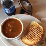 Mulligatawny soup and grilled ham and cheese