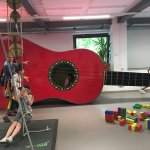 This is a photo of the children's section. You can climb into the ukulele and FEEL the bass!