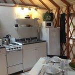 kitchen in the green yurt