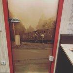 Bathroom door hotel Altora! Railway theme
