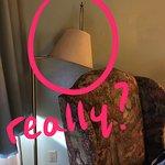 main ligt, no bulb and lamp shade hanging