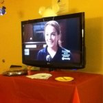 I decorated the room for my friend's bachelorette. Disney channel playing Mean Girls!