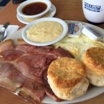 Country ham, red eye gravy, biscuits, grits, and eggs.
