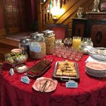 Breakfast buffet table at The Gables