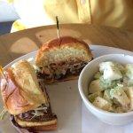 Burger and Waldorf Salad