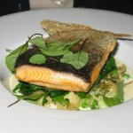 Romsey trout, spinach, sorrel sauce